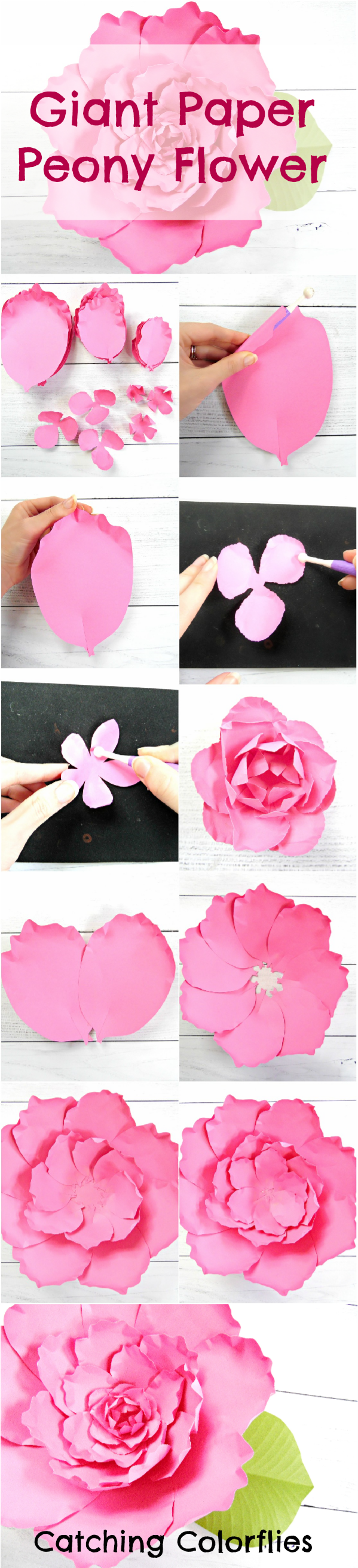 Giant Peony Paper Flower Tutorial - Catching Colorflies